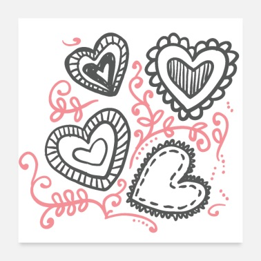Ornament Hand Drawn Hearts Valentine s Day - Poster