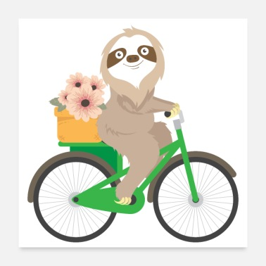 Bicycle Sweet sloth on the bicycle present gift idea - Poster 24x24