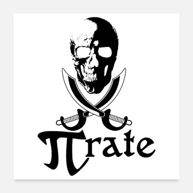 Mathematics Pirate flag skull swords PI math symbols gift idea - Poster 24x24