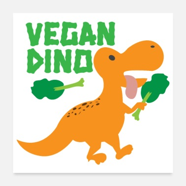 Vegan Kid Orange Cute Vegan Dinosaur Broccoli Gift idea - Poster