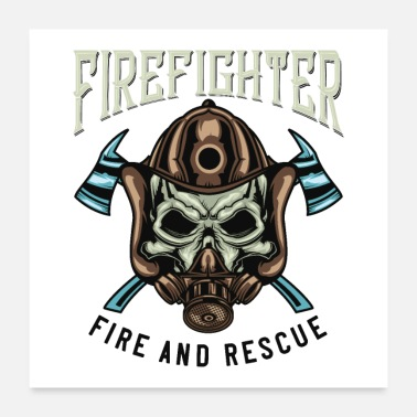 Rescue Firefighter Skull - Fire and Rescue - Poster