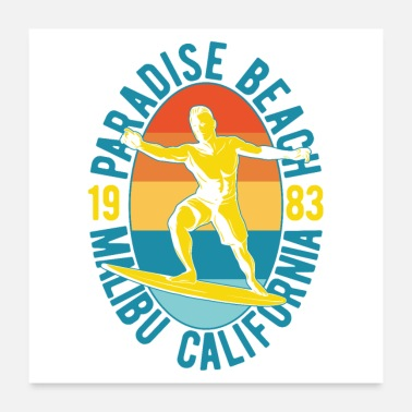 Sea Paradise Beach Malibu California Surfing - Poster 24x24