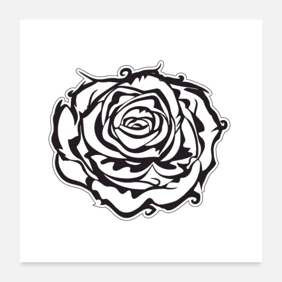 White Posters - Single rose black & white - Posters white
