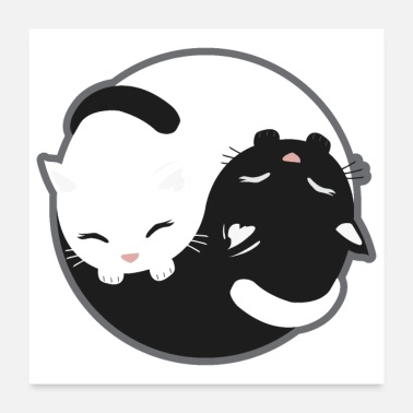 Cat Cat - Yin Yang Cats Black and White - Gift Idea - Poster 24x24