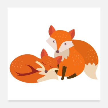 Sisters Forever Animals Fox stay with me love forever - Gift Idea - Poster