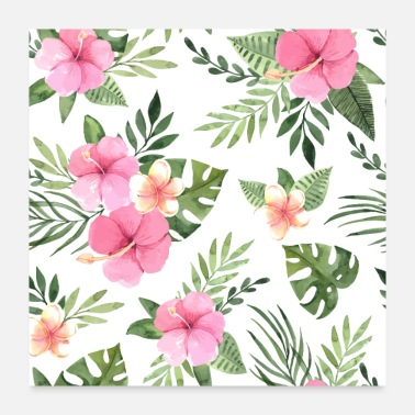 Hawaii Elegant Tropical Floral Pattern - Poster 24x24