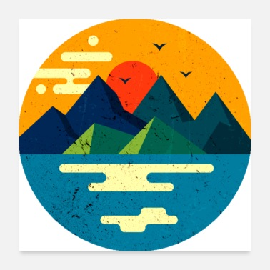 Flat Landscape Mountain - Poster