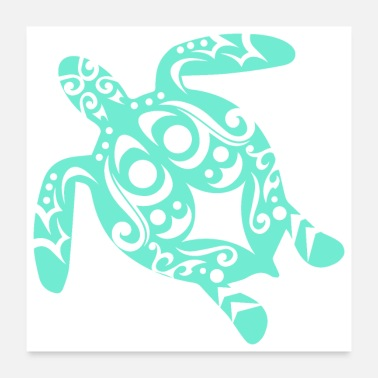 Mythological Maori Turtle honu Tattoo Tribal shapes - Gift Idea - Poster