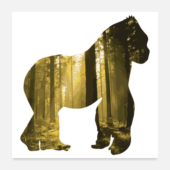 Forest Animal Posters - Double Exposure Animals Gorilla - Gift Idea - Posters white