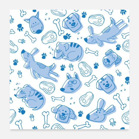 Collection Posters - Dog dogs pattern blue cute funny dog owner - Posters white