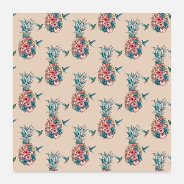 Botanical Floral Hummingbird Tropical Pineapples Cream - Poster