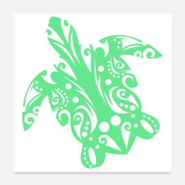 Travel Maori Turtle honu Tattoo Tribal shapes - Gift Idea - Poster 24x24