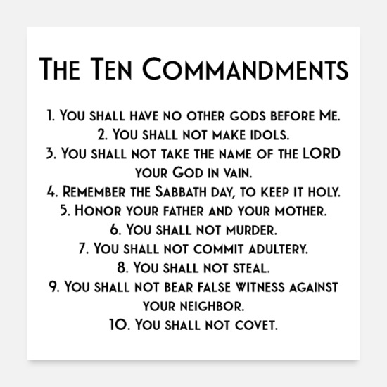 Protestant Posters - The Ten Commandments - Posters white