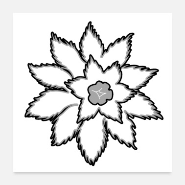 Grey grey abstract flower - Poster