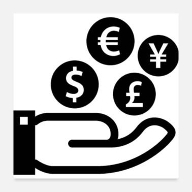 Currency finance symbol of four currencies on a hand - Poster