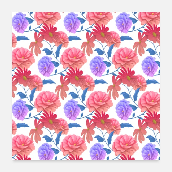 Pattern Posters - Flowers painting art painting pattern - Posters white