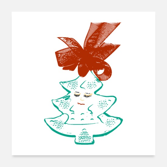Christmas Posters - cute girlie tree - Posters white