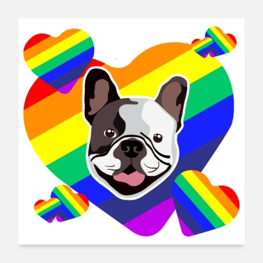 Favorite Grandpa Favorite Dogs French Bulldog in a Heart Gift Idea - Poster