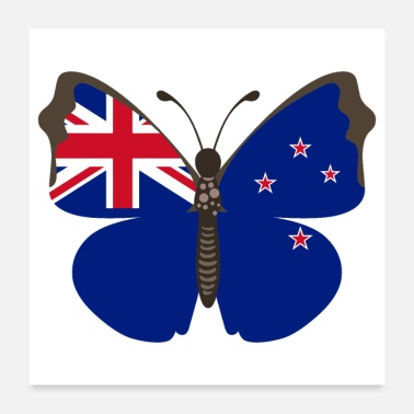 New Zealand Butterfly New Zealand Flag of New Zealand - Gift - Poster