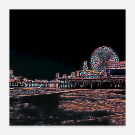 Abstract Posters - Stained Glass Santa Monica Pier - Posters white