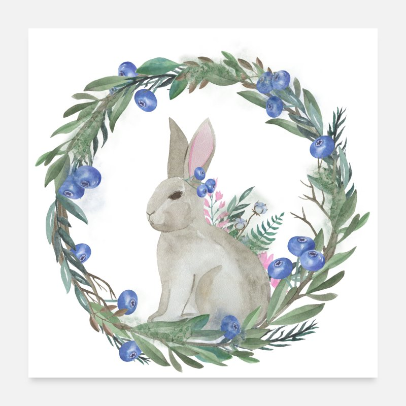 Animal Posters - Cute Watercolor Rabbit - Posters white