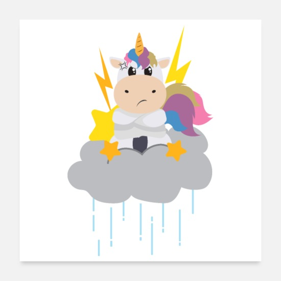Dancing Posters - Angry Unicorn on raining clouds - Gift Idea - Posters white