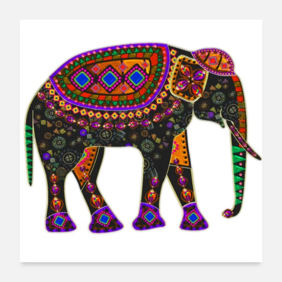 Psychedelic Posters - Psychedelic Elephant - Posters white