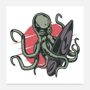 Octopus Surfing octopus - Poster