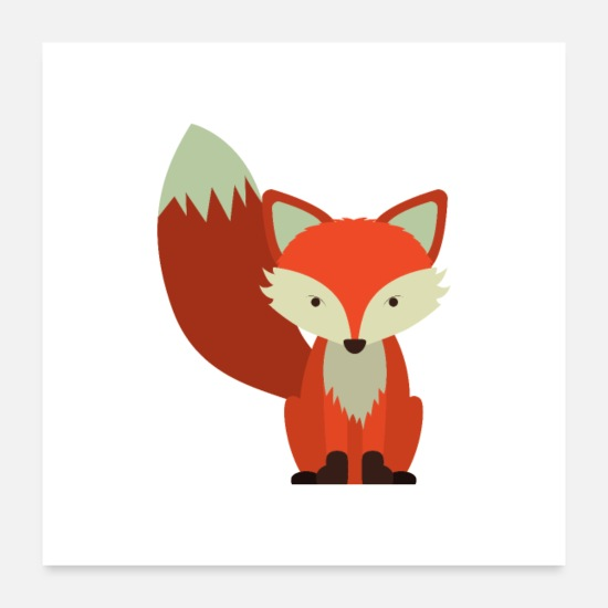 Gift Idea Posters - Fox cute motive - Posters white