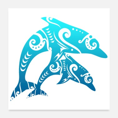 Dolphin Maori Couple Dolphins Tribal Tattoo Blue Gift Idea - Poster
