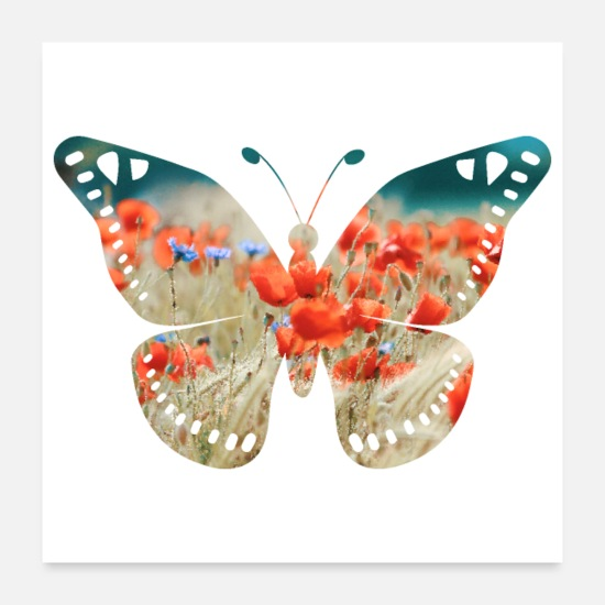 Dancing Posters - Double Exposure Animals Butterfly - Gift Idea - Posters white