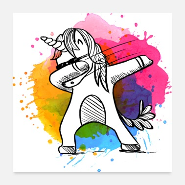 Satire Cool Dabbing Unicorn T-Shirt with Color Splashes - Poster