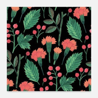 Botanical Lovely Orange and Red Botanical Floral Background - Poster