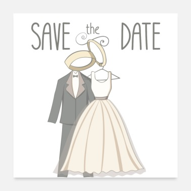 Birth Name save the date - wedding couple - wedding rings - Poster