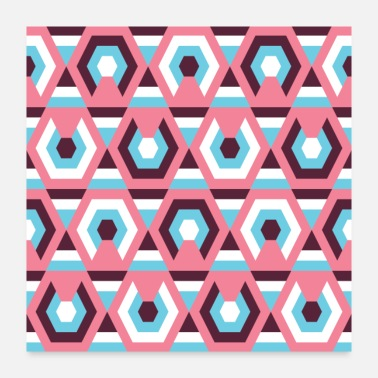 Hexagon Hexagon Geometric Abstract Modern Retro Pattern - Poster