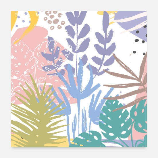 Botanical Posters - Tropical Pastel Abstract Botanical - Posters white