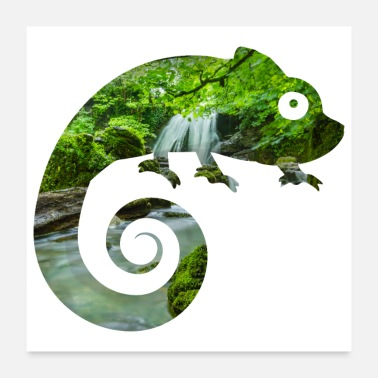 Chamaeleon Double Exposure Animals Chamaeleon - Gift Idea - Poster