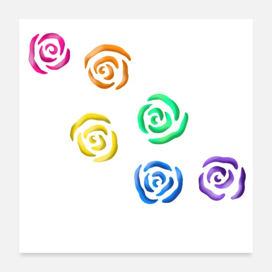 Gay Pride Posters - Rainbow Roses - Posters white