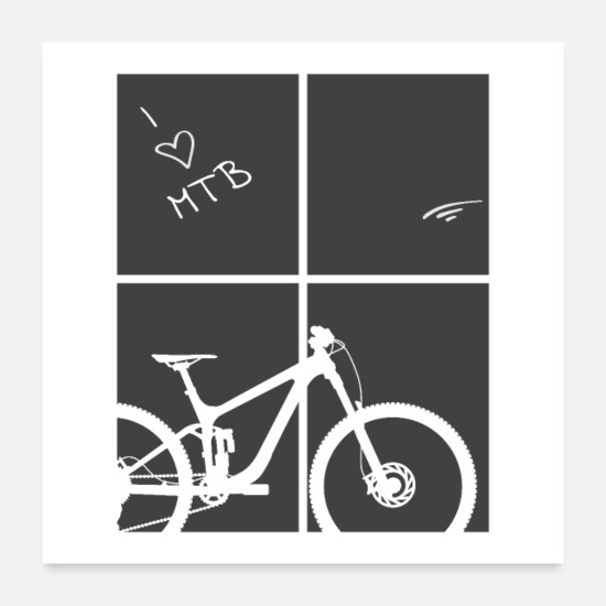 Mountain Posters - mountain bike cycling bicycle downhill MTB poster - Posters white