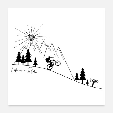 Boy mountain bike cycling bicycle downhill MTB poster - Poster