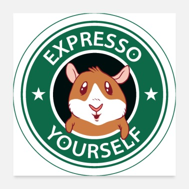 Rodents Sleepy Guinea Pig Coffee Design Expresso yourself - Poster