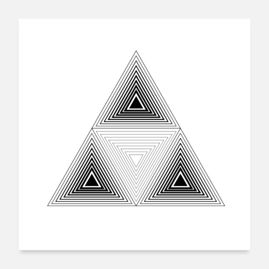 Visualization Posters - Triangle Mandala Yoga Illusion Paradoxon Zen Gift - Posters white