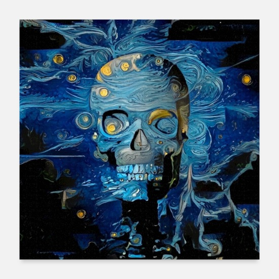 Digital Posters - Blue Skull - Posters white