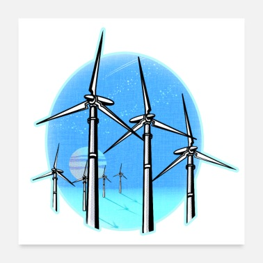 Wind Wind Turbines at Moonrise - Poster