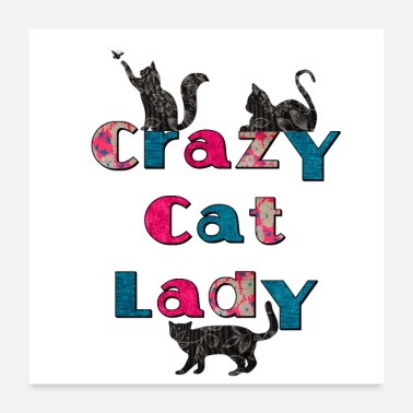 Lady Crazy Cat Lady Retro Fabric with Cats Design - Poster