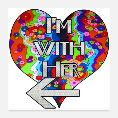Match I'm with her 2 rainbow matching couple design - Poster