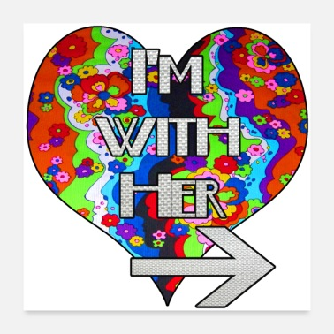 Pride I'm with her retro rainbow matching couple design - Poster