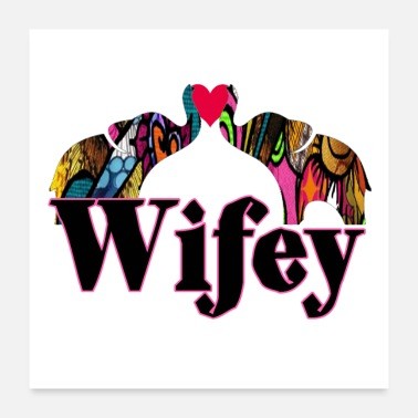 Animal Lover Wifey Love Elephants Design - Poster