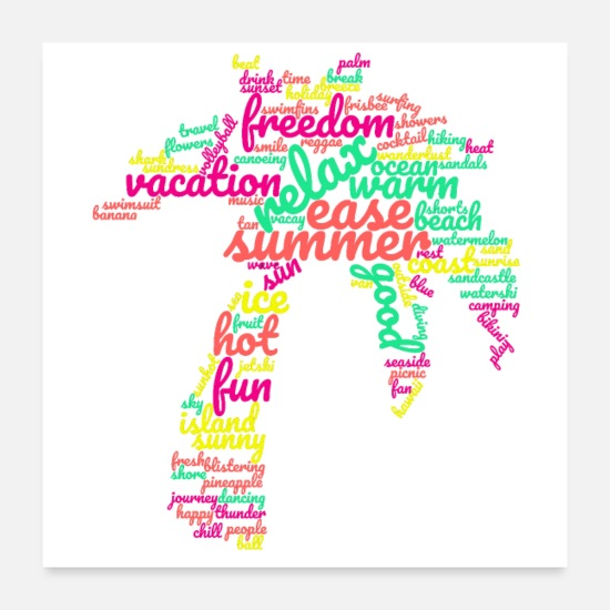 Freestyle Posters - Summer Palm 80s wordcloud - Posters white