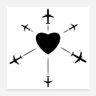 Travel Route Heart with some airplanes black - Poster